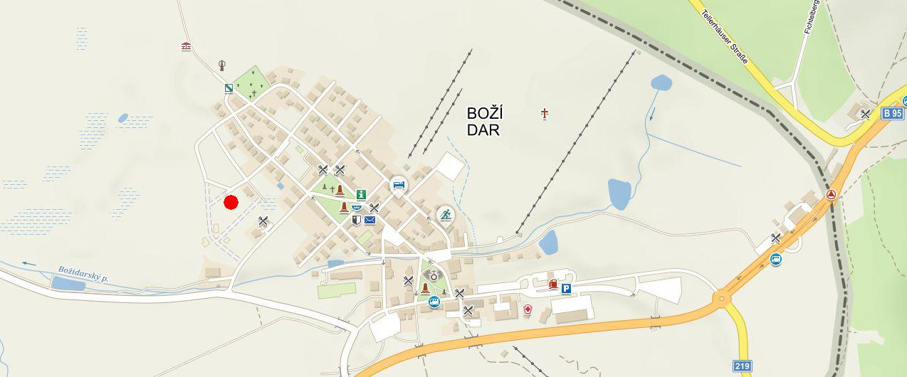 Boží Dar - mapa