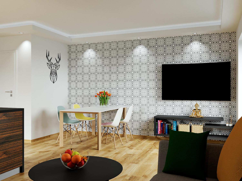 Boží dar - vizualizace obývacího pokoje s pohledem na jídelní kout