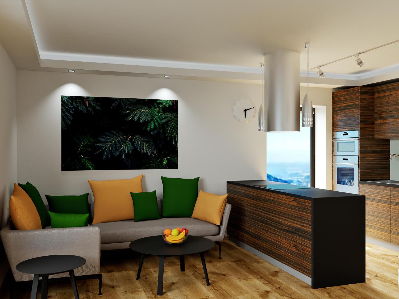 Boží dar - vizualizace obývacího pokoje s pohledem na pohovku