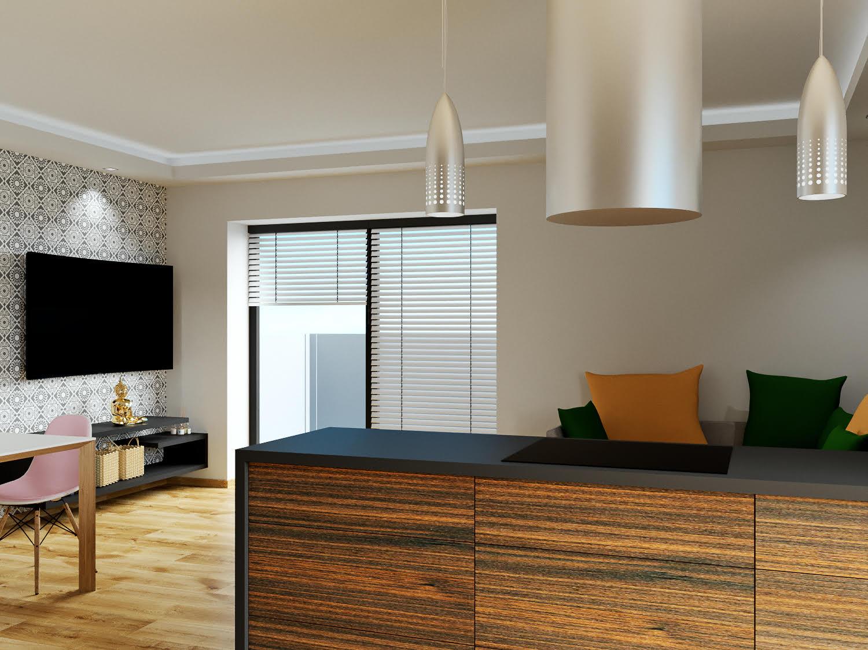 Boží dar - vizualizace obývacího pokoje, pohled z kuchyňského koutu do místnosti