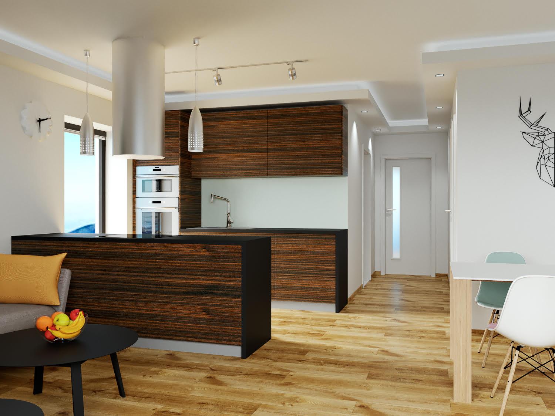 Boží dar - vizualizace obývacího pokoje s pohledem na kuchyňský kout