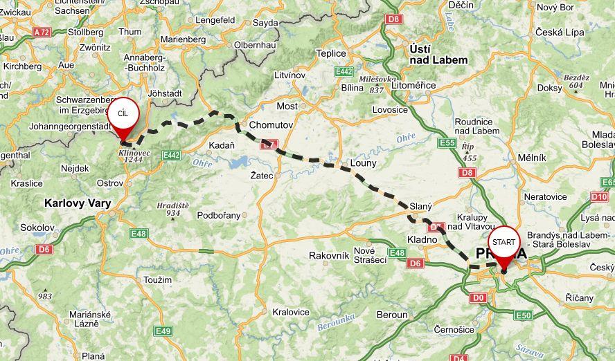 Mapa - Boží Dar - Praha